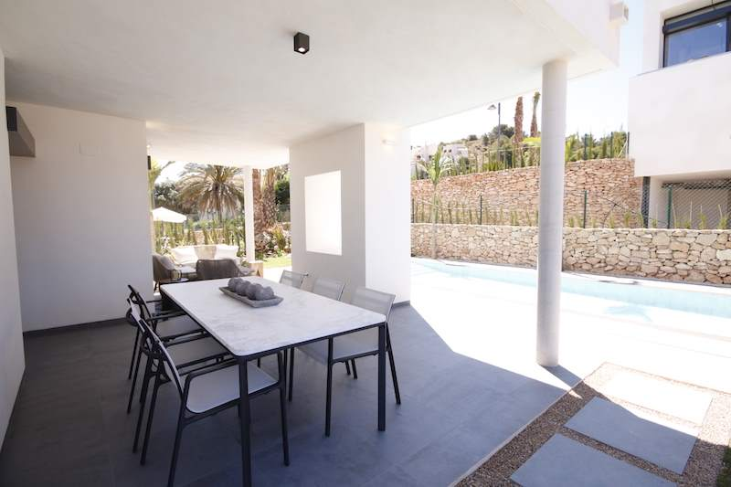 Outdoor terrace and pool las acacias villa la manga club spain