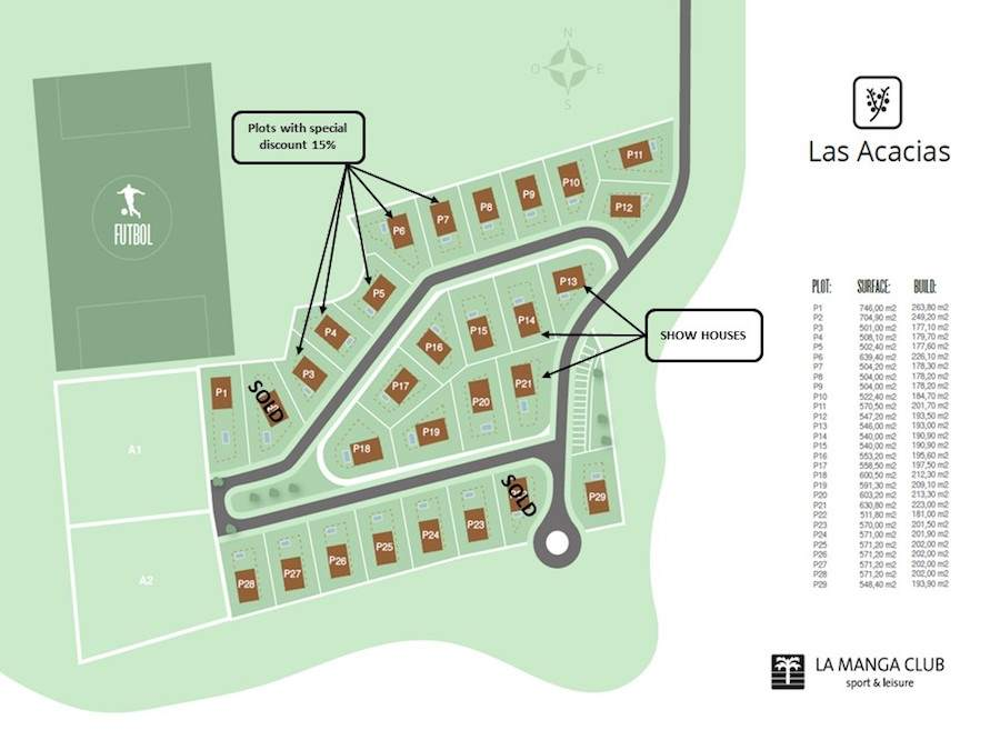 Plots masterplan las acacias villas properties at la manga club